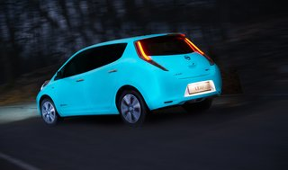 Nissan coated a Nissan Leaf with special paint that glows at night