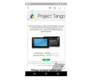 google cuts price of project tango tablet in half but keeps it developer only image 2