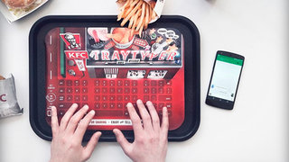 KFC offers paper-thin Bluetooth keyboard on meal tray, greasy phone screen be gone