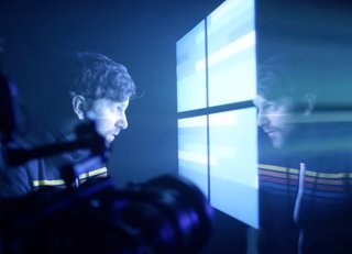 Watch Microsoft create the Windows 10 wallpaper using projectors and lasers