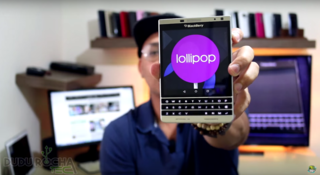 Now the BlackBerry Passport appears on video, running Android