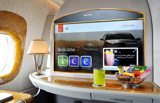 Wow, Emirates first-class passengers get 32-inch screens, but don't worry economy gets bigger screens too