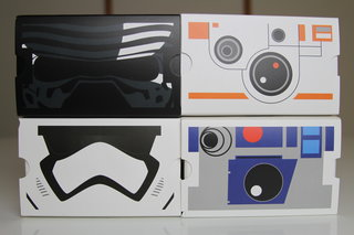 Here are the Star Wars Cardboard headsets: Kylo Ren, Stormtrooper, BB-8, and R2-D2
