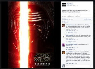 get ready for the lightsaber to invade your facebook stream pocket