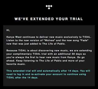 tidal extended its free trial by 30 days all because kanye updated his album image 2