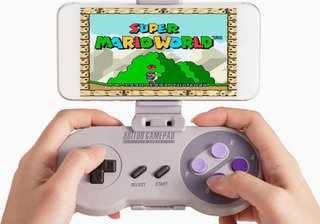 Classic SNES controller returns with an upgrade: the Bluetooth SNES30 and smartphone holder
