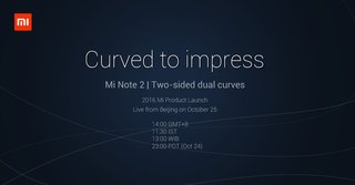 Xiaomi Mi Note 2 with curved edges, 2K screen and iris scanner to launch on October 25