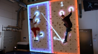 This Augmented Reality Climbing Wall will let you play Pong while holding on for dear life