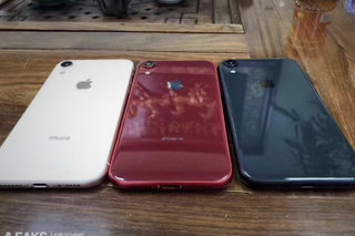 Apple's 6.1-inch LCD iPhone XC pictured in red, white, and blue
