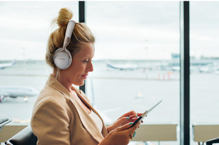 Denon's GC travel headphone range has noise cancelling and wired/wireless options