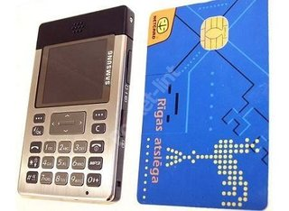 Details surface of credit card sized phone from Samsung