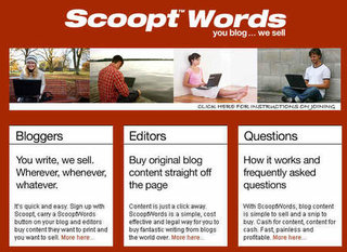 ScooptWords lets bloggers sell their articles to mainstream publications
