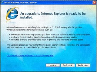 Internet Explorer 7 to be automatic update
