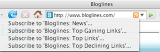 Subscribe to RSS feeds via Bloglines with one click in IE7 and Firefox 2.0