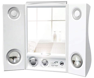 Fog-free mirror with speakers for your shower