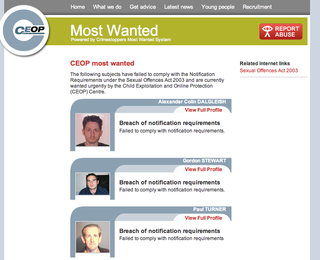 CEOP names missing child abuse offenders on website