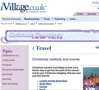 WEBSITE OF THE DAY – ivillage.co.uk Christmas Markets