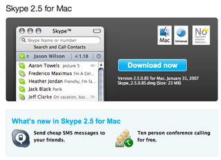 Skype 2.5 for Mac now available