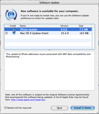 Apple updates to OS X 10.4.9