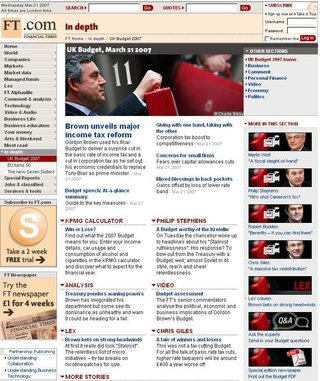 WEBSITE OF THE DAY - ft.com/indepth/budget2007
