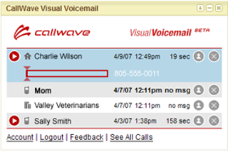 Visual Voicemail widget available free on Google US