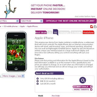 iPhone on O2 and Vodafone rumours get refreshed via a retailer listing
