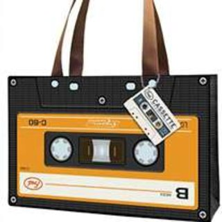 Retro tape cassette tote bag