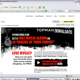 Topman offers free music downloads