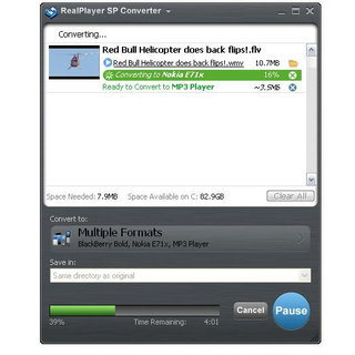 RealPlayer SP lets you watch internet video offline