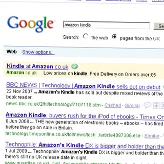 Amazon Kindle ads show up on Google UK