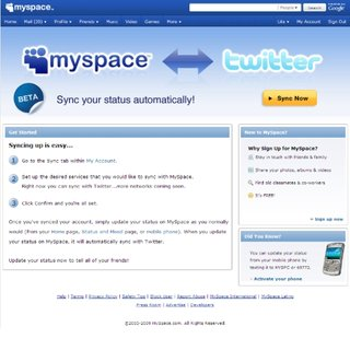MySpace announces Twitter syncing