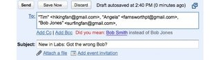 """Gmail intros """"Got the wrong Bob?"""" Labs feature"""