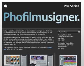 Apple announced Phofilmusigner free seminars for creative pros