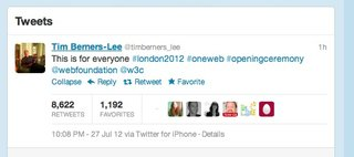 olympic opening ceremony sees sir tim berners lee tweet 'this is for everyone' image 2