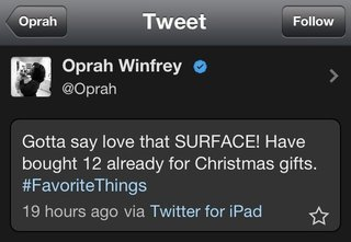 oprah winfrey tweets love for microsoft surface from an ipad image 2