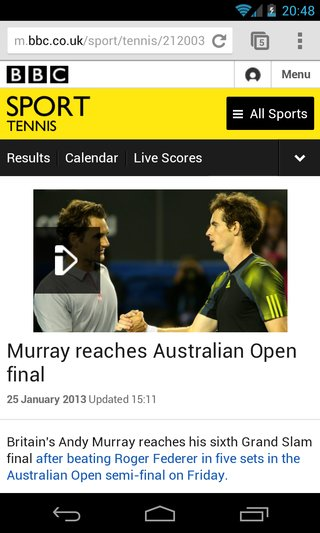 video comes to bbc sport app and mobile site android app still absent image 3