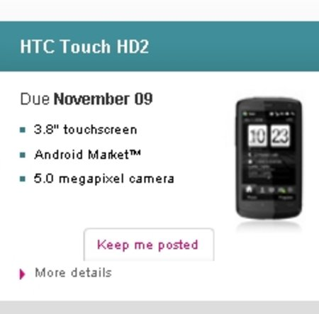"T-Mobile to offer ""HTC Touch HD2"" with Android Market"