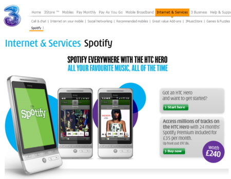 3's HTC Hero with Spotify now available