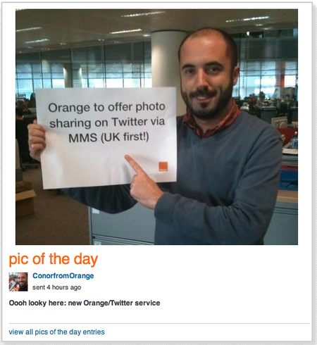 Orange debuts MMS Twitter updates