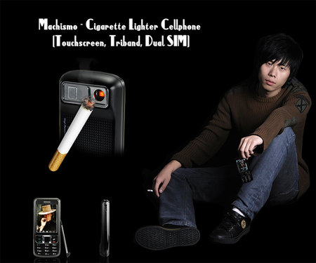 Cigarette lighter built into mobile phone