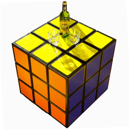 Rubik's Cube Table solves where to put your cocktail