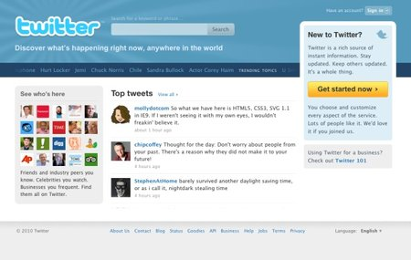 Twitter tries out new homepage