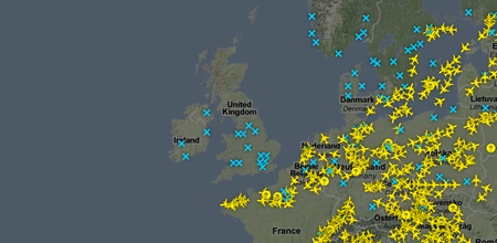 Online flight map shows empty skies