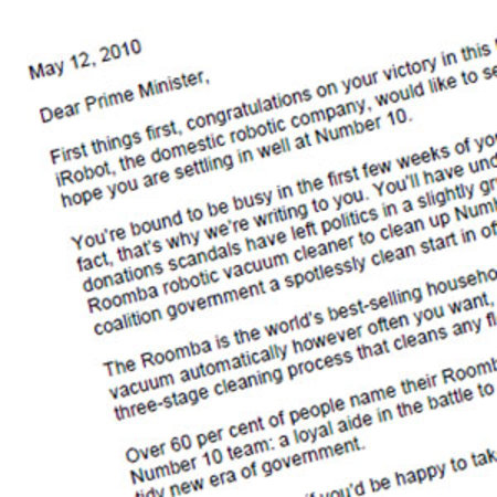 iRobot offers to clean up Downing Street