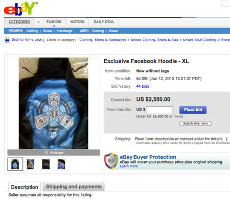 "Facebook ""cult"" hoodie, as seen on CEO Zuckerberg, up for sale"