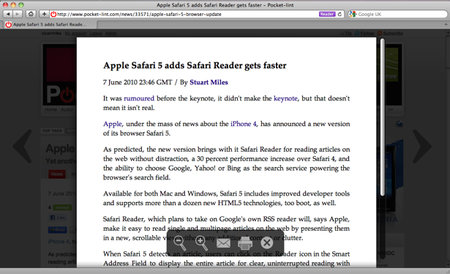 Apple Safari 5 adds Safari Reader gets faster