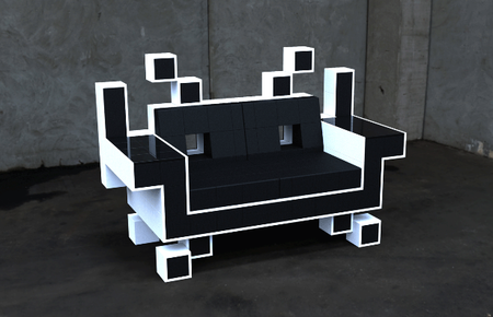 Nothing says uber-geek quite like a Space Invaders sofa