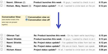 Gmail conversations threading turns off