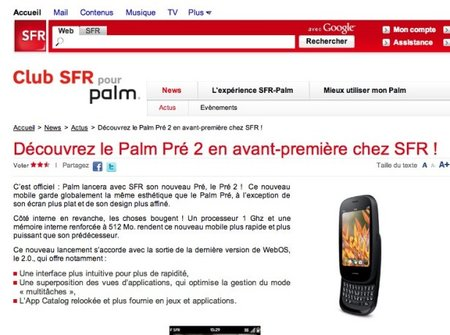 Palm Pre 2 turns up on French operator's website