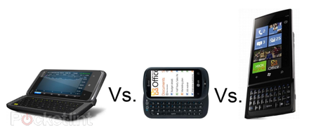 HTC 7 Pro vs LG Optimus 7Q vs Dell Venue Pro